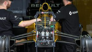 Renault Sport F1 Team RS16 chassis and front suspension at Formula One World Championship, Rd16, Malaysian Grand Prix, Preparations, Sepang, Malaysia, Thursday 29 September 2016. © Sutton Images