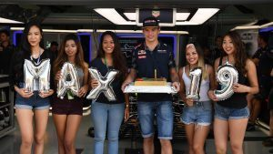 Max Verstappen (NED) Red Bull Racing celebrates his 19th Birthday with a Birthday cake at Formula One World Championship, Rd16, Malaysian Grand Prix, Practice, Sepang, Malaysia, Friday 30 September 2016. © Sutton Images