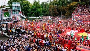 Fans and giant flag at Formula One World Championship, Rd14, Italian Grand Prix, Race, Monza, Italy, Sunday 4 September 2016. © Scuderia Ferrari