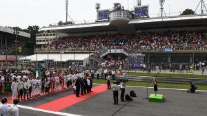 National Anthem is observed on the grid at Formula One World Championship, Rd14, Italian Grand Prix, Race, Monza, Italy, Sunday 4 September 2016. © Sutton Images