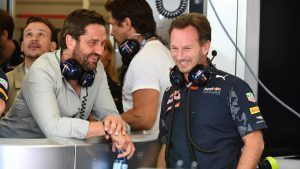 Gerard Butler (GBR) Actor and Christian Horner (GBR) Red Bull Racing Team Principal at Formula One World Championship, Rd18, United States Grand Prix, Qualifying, Circuit of the Americas, Austin, Texas, USA, Saturday 22 October 2016. © Sutton Images