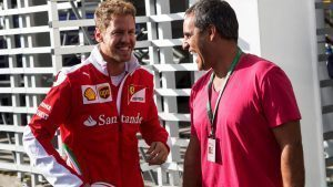 Sebastian Vettel (GER) Ferrari and Juan Pablo Montoya (COL) at Formula One World Championship, Rd19, Mexican Grand Prix, Preparations, Circuit Hermanos Rodriguez, Mexico City, Mexico, Thursday 27 October 2016. © Sutton Images