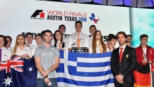 Infinite Racing from Greece picked up the prestigious Bernie Ecclestone trophy on Wednesday evening after taking top honours in the F1 in Schools World Finals in Austin.