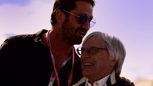 Actor Gerard Butler with Formula One group CEO Bernie Ecclestone, 2016 Formula 1 United States Grand Prix, Austin © FOWC Ltd