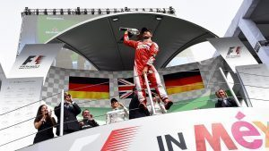 Sebastian Vettel (GER) Ferrari celebrates on the podium with the trophy at Formula One World Championship, Rd19, Mexican Grand Prix, Race, Circuit Hermanos Rodriguez, Mexico City, Mexico, Sunday 30 October 2016. © Sutton Images