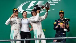 Nico Rosberg (GER) Mercedes AMG F1, Victoria Vowles (GBR) Mercedes AMG F1 Partner Services Director, race winner Lewis Hamilton (GBR) Mercedes AMG F1 and Daniel Ricciardo (AUS) Red Bull Racing celebrate on the podium withthe champagne and the trophies at Formula One World Championship, Rd18, United States Grand Prix, Race, Circuit of the Americas, Austin, Texas, USA, Sunday 23 October 2016. © Sutton Images