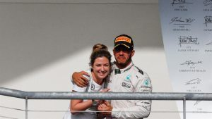 Victoria Vowles (GBR) Mercedes AMG F1 Partner Services Director and Lewis Hamilton (GBR) Mercedes AMG F1 celebrate on the podium at Formula One World Championship, Rd18, United States Grand Prix, Race, Circuit of the Americas, Austin, Texas, USA, Sunday 23 October 2016. © Sutton Images