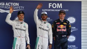 (L to R): Nico Rosberg (GER) Mercedes AMG F1, pole sitter Lewis Hamilton (GBR) Mercedes AMG F1 and Max Verstappen (NED) Red Bull Racing celebrate in parc ferme at Formula One World Championship, Rd19, Mexican Grand Prix, Qualifying, Circuit Hermanos Rodriguez, Mexico City, Mexico, Saturday 29 October 2016. © Sutton Images