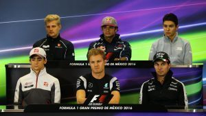(L to R): Marcus Ericsson (SWE) Sauber, Carlos Sainz jr (ESP) Scuderia Toro Rosso, Esteban Ocon (FRA) Manor Racing, Esteban Gutierrez (MEX) Haas F1, Nico Rosberg (GER) Mercedes AMG F1 and Sergio Perez (MEX) Force India in the Press Conference at Formula One World Championship, Rd19, Mexican Grand Prix, Preparations, Circuit Hermanos Rodriguez, Mexico City, Mexico, Thursday 27 October 2016. © Sutton Images