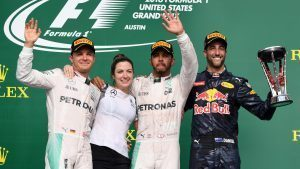 (L to R): Nico Rosberg (GER) Mercedes AMG F1, Victoria Vowles (GBR) Mercedes AMG F1 Partner Services Director, Lewis Hamilton (GBR) Mercedes AMG F1 and Daniel Ricciardo (AUS) Red Bull Racing celebrate on the podium with the trophy at Formula One World Championship, Rd18, United States Grand Prix, Race, Circuit of the Americas, Austin, Texas, USA, Sunday 23 October 2016. © Sutton Images