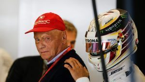 Niki Lauda (AUT) Mercedes AMG F1 Non-Executive Chairman and Lewis Hamilton (GBR) Mercedes AMG F1 at Formula One World Championship, Rd18, United States Grand Prix, Qualifying, Circuit of the Americas, Austin, Texas, USA, Saturday 22 October 2016. © Sutton Images