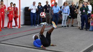 Iya Traore (FRA) Freestyle Soccer Player at Formula One World Championship, Rd18, United States Grand Prix, Qualifying, Circuit of the Americas, Austin, Texas, USA, Saturday 22 October 2016. © Sutton Images
