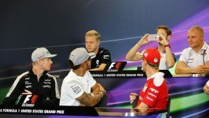 (L to R): Kevin Magnussen (DEN) Renault Sport F1 Team, Romain Grosjean (FRA) Haas F1, Valtteri Bottas (FIN) Williams, Nico Hulkenberg (GER) Force India F1, Lewis Hamilton (GBR) Mercedes AMG F1 and Sebastian Vettel (GER) Ferrari in the Press Conference at Formula One World Championship, Rd18, United States Grand Prix, Preparations, Circuit of the Americas, Austin, Texas, USA, Thursday 20 October 2016. © Sutton Images