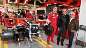 Miguel Angel Mancera (MEX) Mexico City Mayor with Diego Ioverno (ITA) Ferrari Operations Director and Bernie Ecclestone (GBR) CEO Formula One Group (FOM) in the Ferrari garage at Formula One World Championship, Rd19, Mexican Grand Prix, Preparations, Circuit Hermanos Rodriguez, Mexico City, Mexico, Thursday 27 October 2016. © Sutton Images