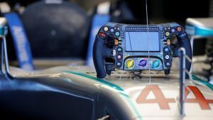 Mercedes-Benz F1 W07 Hybrid Steering wheel at Formula One World Championship, Rd18, United States Grand Prix, Qualifying, Circuit of the Americas, Austin, Texas, USA, Saturday 22 October 2016. © Sutton Images