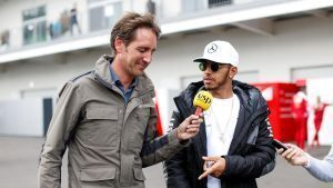 Lewis Hamilton (GBR) Mercedes AMG F1 talks with Tom Clarkson (GBR) BBC Television at Formula One World Championship, Rd19, Mexican Grand Prix, Preparations, Circuit Hermanos Rodriguez, Mexico City, Mexico, Thursday 27 October 2016. © Sutton Images