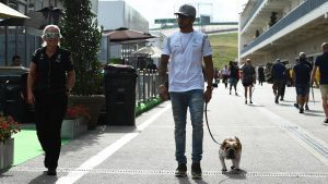 Lewis Hamilton (GBR) Mercedes AMG F1 with his dog Roscoe at Formula One World Championship, Rd18, United States Grand Prix, Preparations, Circuit of the Americas, Austin, Texas, USA, Thursday 20 October 2016. © Sutton Images