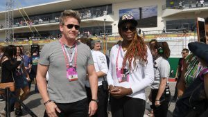 Gordon Ramsay (GBR) Chef and Venus Williams (USA) Tennis player on the grid at Formula One World Championship, Rd18, United States Grand Prix, Race, Circuit of the Americas, Austin, Texas, USA, Sunday 23 October 2016. © Sutton Images