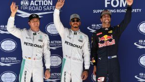 (L to R): Nico Rosberg (GER) Mercedes AMG F1, pole sitter Lewis Hamilton (GBR) Mercedes AMG F1 and Daniel Ricciardo (AUS) Red Bull Racing celebrate in parc ferme at Formula One World Championship, Rd18, United States Grand Prix, Qualifying, Circuit of the Americas, Austin, Texas, USA, Saturday 22 October 2016. © Sutton Images