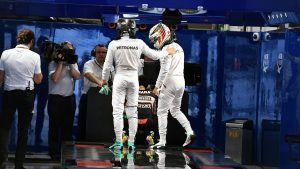 Lewis Hamilton (GBR) Mercedes AMG F1 and Nico Rosberg (GER) Mercedes AMG F1 in parc ferme at Formula One World Championship, Rd17, Japanese Grand Prix, Qualifying, Suzuka, Japan, Saturday 8 October 2016. © Sutton Images