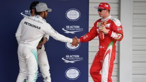 Lewis Hamilton (GBR) Mercedes AMG F1 and Kimi Raikkonen (FIN) Ferrari celebrate in parc ferme at Formula One World Championship, Rd17, Japanese Grand Prix, Qualifying, Suzuka, Japan, Saturday 8 October 2016. © Sutton Images