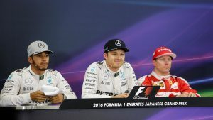 Lewis Hamilton (GBR) Mercedes AMG F1, pole sitter Nico Rosberg (GER) Mercedes AMG F1 and Kimi Raikkonen (FIN) Ferrari in the Press Conference at Formula One World Championship, Rd17, Japanese Grand Prix, Qualifying, Suzuka, Japan, Saturday 8 October 2016. © Sutton Images