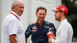 Dr Helmut Marko (AUT) Red Bull Motorsport Consultant, Christian Horner (GBR) Red Bull Racing Team Principal and Sebastian Vettel (GER) Ferrari at Formula One World Championship, Rd17, Japanese Grand Prix, Qualifying, Suzuka, Japan, Saturday 8 October 2016. © Sutton Images