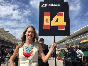 Grid girl at Formula One World Championship, Rd18, United States Grand Prix, Race, Circuit of the Americas, Austin, Texas, USA, Sunday 23 October 2016. © McLaren Honda
