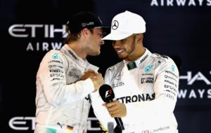 Nico Rosberg and Lewis Hamilton on Podium at Abu Dhabi Grand Prix 2016 / Tweet from Channel 4 F1.