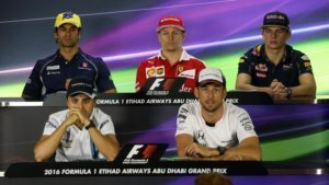 (L to R): Felipe Nasr (BRA) Sauber, Kimi Raikkonen (FIN) Ferrari, Max Verstappen (NED) Red Bull Racing, Felipe Massa (BRA) Williams and Jenson Button (GBR) McLaren in the Press Conference at Formula One World Championship, Rd21, Abu Dhabi Grand Prix, Preparations, Yas Marina Circuit, Abu Dhabi, UAE, Thursday 24 November 2016. © Sutton Images