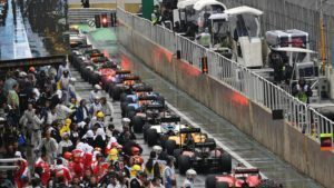 Cars in pit lane after the race suspension at Formula One World Championship, Rd20, Brazilian Grand Prix, Race, Interlagos, Sao Paulo, Brazil, Sunday 13 November 2016. © Sutton Images