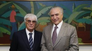 Formula One group CEO Bernie Ecclestone with President of Brazil, Michel Temer, November 2016 © FOWC Ltd