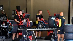 Pirelli tyres preparation area at Formula One World Championship, Rd20, Brazilian Grand Prix, Preparations, Interlagos, Sao Paulo, Brazil, Thursday 10 November 2016. © Sutton Images