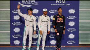 (L to R): Nico Rosberg (GER) Mercedes AMG F1, pole sitter Lewis Hamilton (GBR) Mercedes AMG F1 and Daniel Ricciardo (AUS) Red Bull Racing celebrate in parc ferme at Formula One World Championship, Rd21, Abu Dhabi Grand Prix, Qualifying, Yas Marina Circuit, Abu Dhabi, UAE, Saturday 26 November 2016. © Sutton Images
