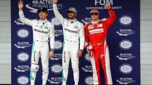 Nico Rosberg (GER) Mercedes AMG F1, pole sitter Lewis Hamilton (GBR) Mercedes AMG F1 and Kimi Raikkonen (FIN) Ferrari celebrate in parc ferme at Formula One World Championship, Rd20, Brazilian Grand Prix, Qualifying, Interlagos, Sao Paulo, Brazil, Saturday 12 November 2016. © Sutton Images