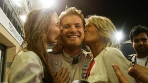 World Champion Nico Rosberg (GER) Mercedes AMG F1 celebrates with his wife Vivian Rosberg (GER) and his Mother Sina Rosberg (GER) at Formula One World Championship, Rd21, Abu Dhabi Grand Prix, Race, Yas Marina Circuit, Abu Dhabi, UAE, Sunday 27 November 2016. © Sutton Images