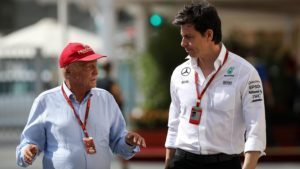 Niki Lauda (AUT) Mercedes AMG F1 Non-Executive Chairman and Toto Wolff (AUT) Mercedes AMG F1 Director of Motorsport at Formula One World Championship, Rd21, Abu Dhabi Grand Prix, Qualifying, Yas Marina Circuit, Abu Dhabi, UAE, Saturday 26 November 2016. © Sutton Images