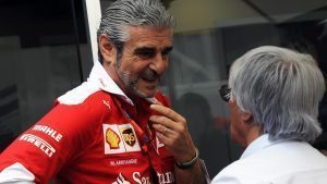 Bernie Ecclestone (GBR) CEO Formula One Group (FOM) and Maurizio Arrivabene (ITA) Ferrari Team Principal at Formula One World Championship, Rd20, Brazilian Grand Prix, Practice, Interlagos, Sao Paulo, Brazil, Friday 11 November 2016. © Sutton Images