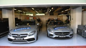Medical car and Safety car at Formula One World Championship, Rd21, Abu Dhabi Grand Prix, Preparations, Yas Marina Circuit, Abu Dhabi, UAE, Thursday 24 November 2016. © Sutton Images