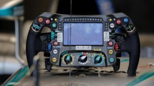Mercedes-Benz F1 W07 Hybrid Steering Wheel detail at Formula One World Championship, Rd20, Brazilian Grand Prix, Qualifying, Interlagos, Sao Paulo, Brazil, Saturday 12 November 2016. © Sutton Images