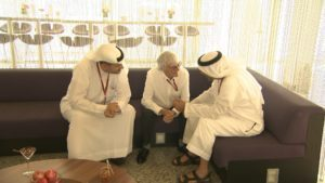 (L to R) His Excellency Khaldoon Khalifa Al Mubarak - Chairman of Abu Dhabi Executive Affairs Authority; Formula One group CEO Bernie Ecclestone; His Highness Sheikh Mohammed bin Zayed Al Nahyan, Crown Prince of Abu Dhabi and Deputy Supreme Commander of the UAE Armed Forces