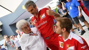 Bernie Ecclestone (GBR) CEO Formula One Group (FOM), Maurizio Arrivabene (ITA) Ferrari Team Principal and Sebastian Vettel (GER) Ferrari at Formula One World Championship, Rd20, Brazilian Grand Prix, Practice, Interlagos, Sao Paulo, Brazil, Friday 11 November 2016. © Sutton Images