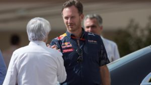 Bernie Ecclestone (GBR) CEO Formula One Group (FOM) and Christian Horner (GBR) Red Bull Racing Team Principal at Formula One World Championship, Rd21, Abu Dhabi Grand Prix, Qualifying, Yas Marina Circuit, Abu Dhabi, UAE, Saturday 26 November 2016. © Sutton Images
