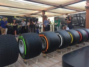 Behind the scenes with the new #Fit4F1 2017 tyres at our presentation. 25% wider with new compounds and structures. © 2016 Pirreli & C. S.p.A.