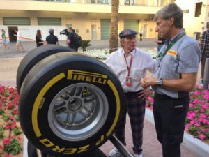 A racing legend - Sir Jackie Stewart - inspects the new wider #Fit4F1 tyres @ymcofficial #F1 © 2016 Pirreli & C. S.p.A.